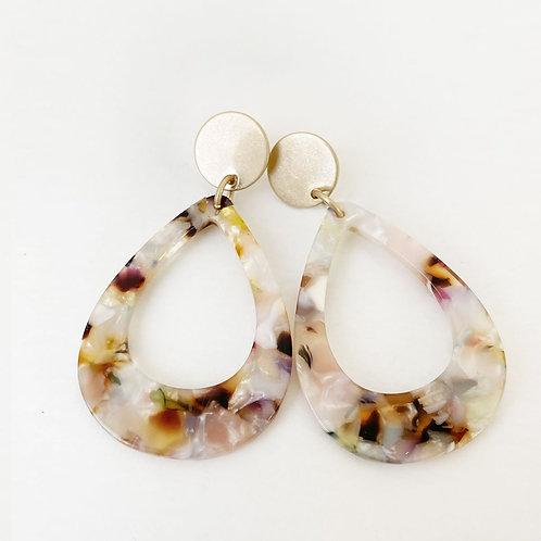 Boucles d'oreille Caracol, Goutte résine coloré, Or, 2435-GLD-W