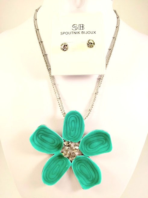 Ensemble collier et boucles d'oreille Spoutnik, Fleur turquoise, centre cristal