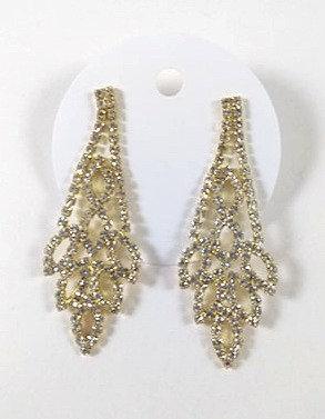 Longue boucles d'oreille Spounik: Pierre du rhin cristal clair, or