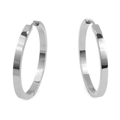 Copie de Boucles oreilles anneaux unies 35mm, Acier inoxydable, Argenté