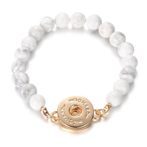 Bracelet élastique pierre blanche, or, Nomaad Interchangeable