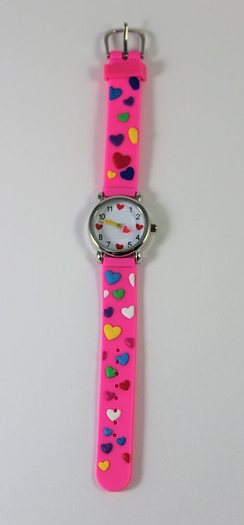 Montre pour enfant, cœurs colorés, rose #3