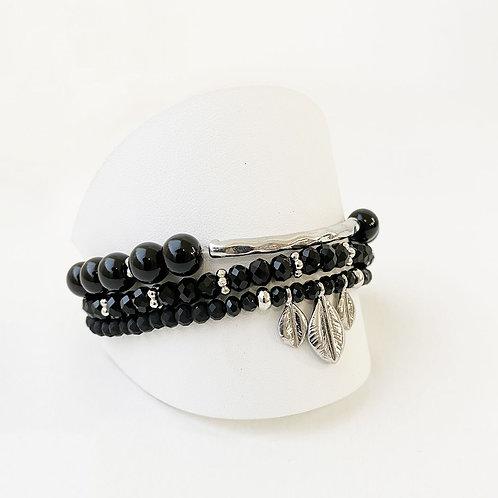 Ensemble de 3 bracelets Caracol, Tube et feuilles, Noir, 3141-BLK