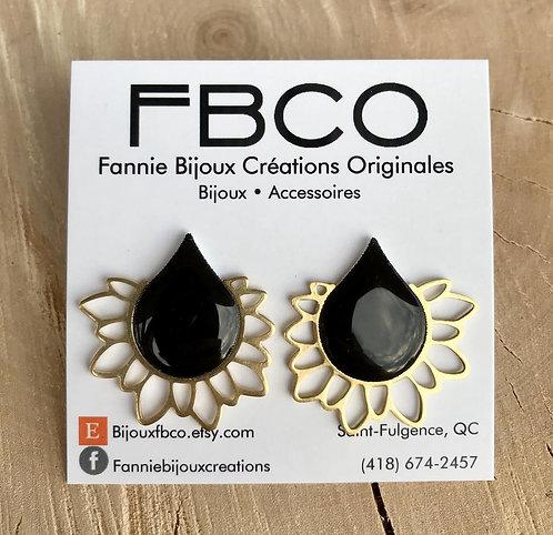 Boucles d'oreille FBCO ''Élysée'' Noire