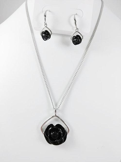 Ensemble collier et boucles d'oreille Spoutnik, Fleur noire