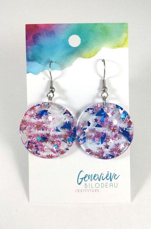 Boucles d'oreilles GB paillettes bleu royale et rose