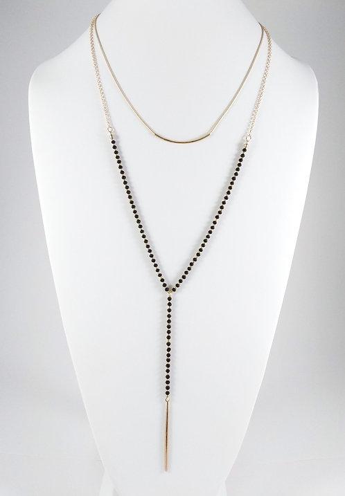 Collier long ajustable Caracol, billes noires, Or, 1358-BLK-G