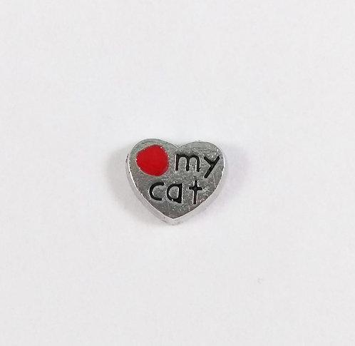 Figurine pour collier famille: Coeur ''Love my cat'' (J'aime mon chat)