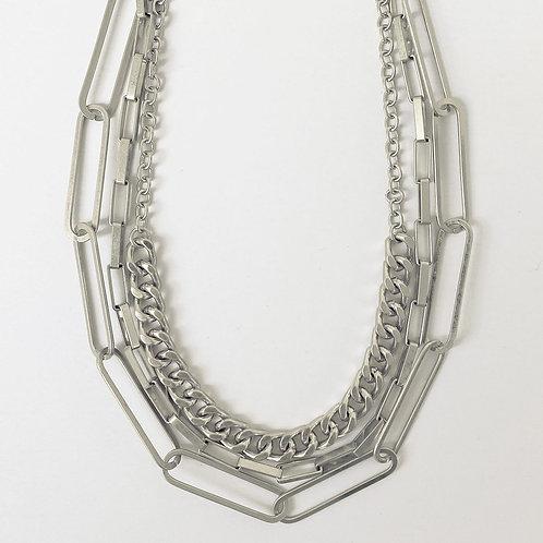Collier court Caracol, Mélange de chaînes à maillons, Argent, 1448-SLV
