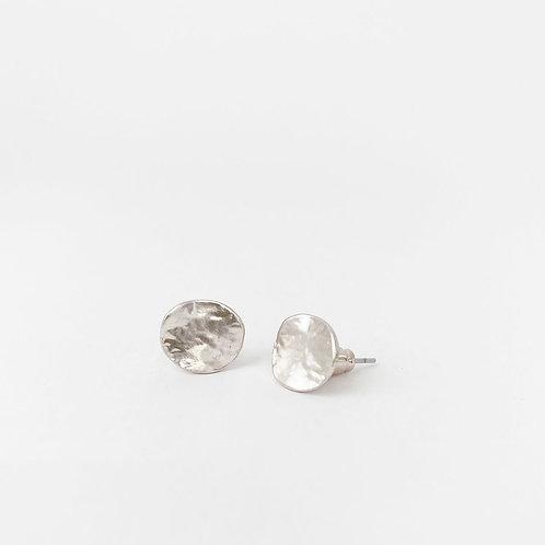 Boucles d'oreille Caracol, Pastilles métalliques texturées, Argent, 2043-SLV