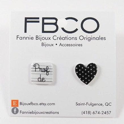 Boucles d'oreille FBCO ''MERCI PROF'' Noir pois blanc