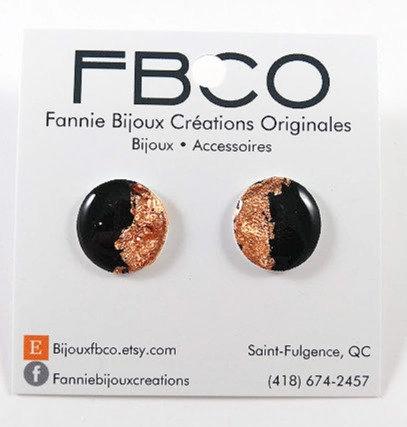 Boucles d'oreille FBCO ''Goldie pink'' Or rose et noir