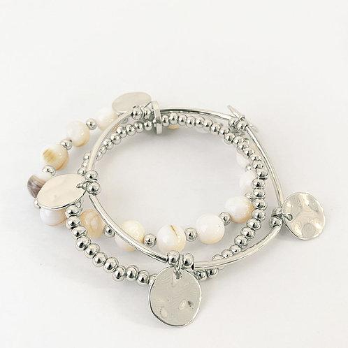 Ensemble de 3 bracelets Caracol, billes métal et coquillage, Argent, 3178-WTS