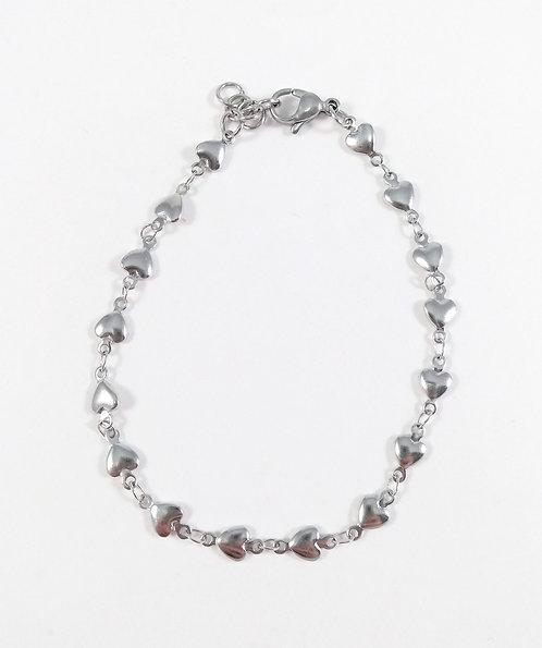 Bracelet ajustable chaîne de petits coeurs argent, Acier inoxydable