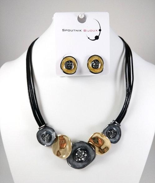Ensemble collier et boucles d'oreille Spoutnik, Cercle gris et or, cuir noir