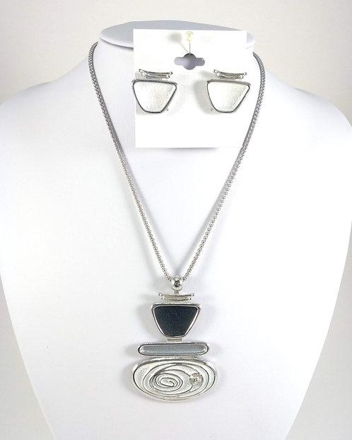 Ensemble collier et boucles d'oreille Spoutnik, Spirale, blanc, noir et gris