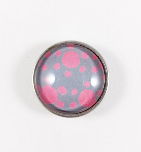 Bouton pression (snap) Nomaad Interchangeable, Pois rose, fond gris