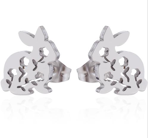 Boucles d'oreille acier inoxydable ''Lapin avec fleur, argent''