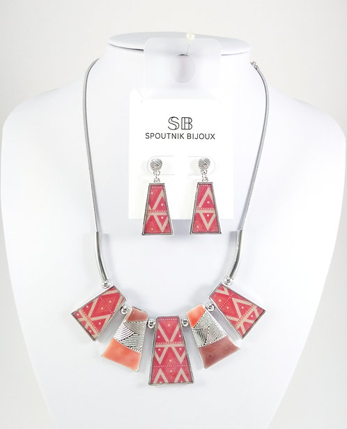 Ensemble collier et boucles d'oreille Spoutnik, Trapèze orange et rose framboise