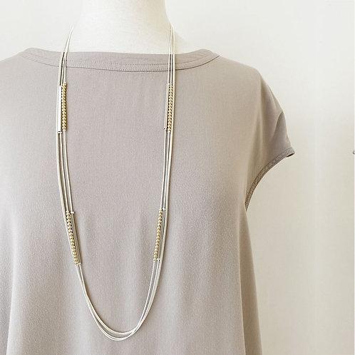 Collier long Caracol, Multi chaînes en métal avec billes, Argent et or, 1441-MXG