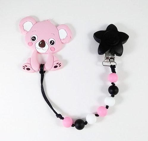 Attache à suce et jouet de dentition, Koala rose, Étoile noire