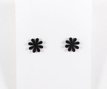 Boucles d'oreille acier inoxydable ''Fleur noire''