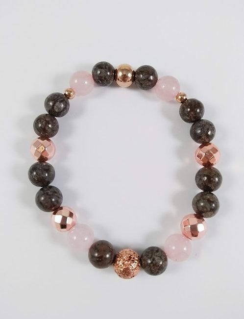 Bracelet #17 Jaspe flocon de neige, Quartz rose, Hématite et pierre volcanique