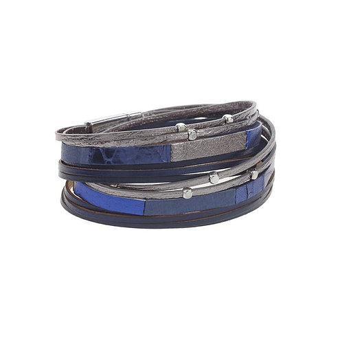 Bracelet Caracol, Cuir, Bleu, 3152-BLU
