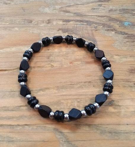 Bracelet pour garçon: Noir et acier