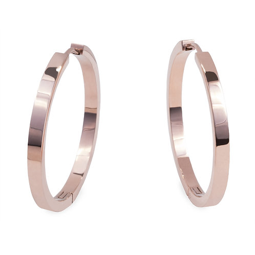Boucles oreilles anneaux unies 35mm, Acier inoxydable, Or rose