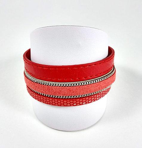 Bracelet Gen.Bil, Cuirette corail, fermoir aimanté