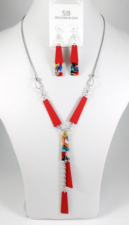 Ensemble collier et boucles d'oreille Spoutnik, Rectangle rouge