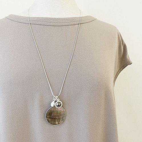 Collier long Caracol, Pastille de coquillage (nacre de perle), Argent 1364-RND