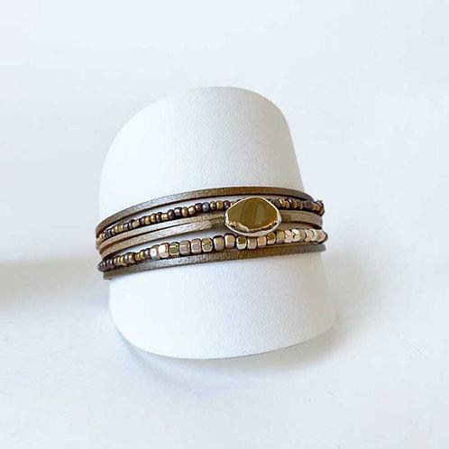 Copie de Bracelet Caracol, Cuir véritable, Beige, 3177-BGE