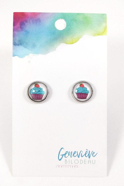 Boucles d'oreille GB Joaillière, 10mm, Cupcake rose, bleu et mauve, Acier inox