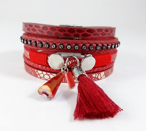 Bracelet cuirette rouge, Pompon et breloque, cercle argent