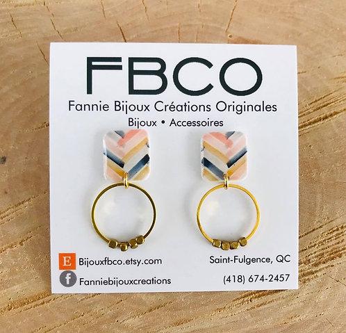Boucles d'oreille FBCO ''DINA'' Motif chevron, or antique