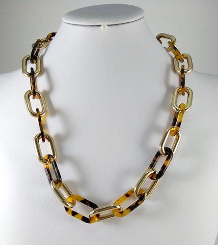 Collier Spoutnik, Large maille, résine motif léopard et or