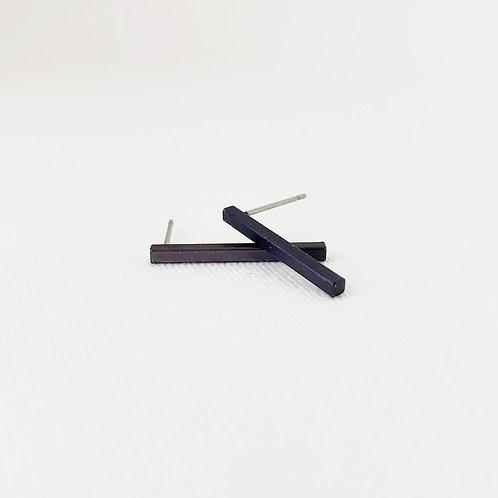 Boucles d'oreille Caracol, Bâton, Noir, 2213-BLK