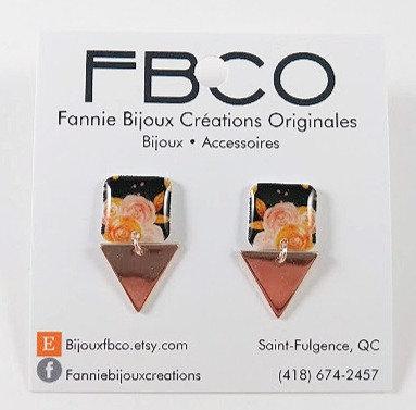 Boucles d'oreille FBCO ''Lustra'' Motif de fleur rose et orangé, fond noir