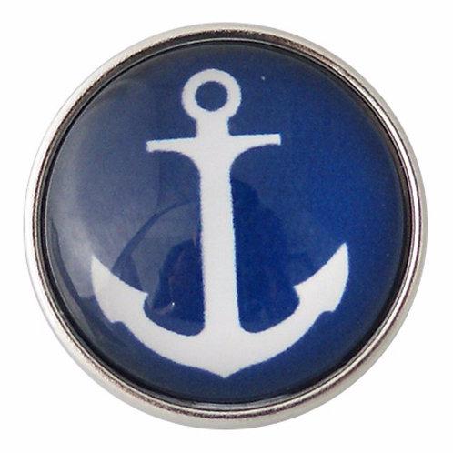 Bouton pression (snap) Nomaad Interchangeable, Ancre bateau marine et blanc