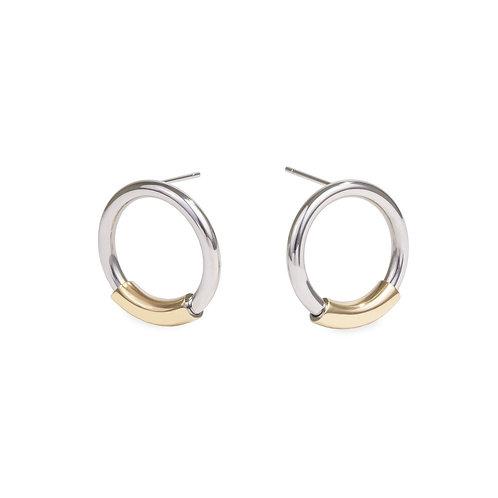 Boucles d'oreilles gravité, Acier inoxydable, Argenté et or