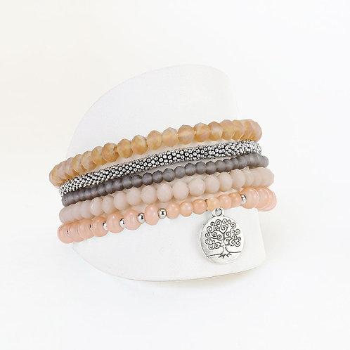 Ensemble de 5 bracelets élastiques Caracol, billes, Corail, 3116-PNK