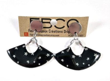 Boucles d'oreille FBCO ''Demi-lune'' Étoile blanche, fond noir Argent