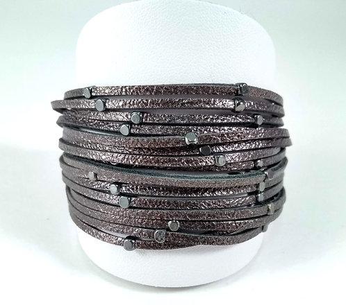 Bracelet Caracol, Multi-rangs, Bandes de cuirette, bronze