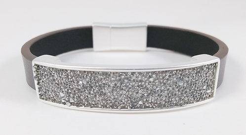 Bracelet Spoutnik cuir avec rectangle argent remplis de cristaux argentés