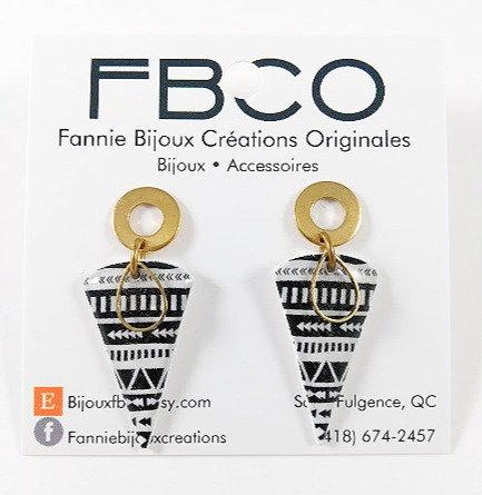 Boucles d'oreille FBCO ''Bella'' Noir et blanc