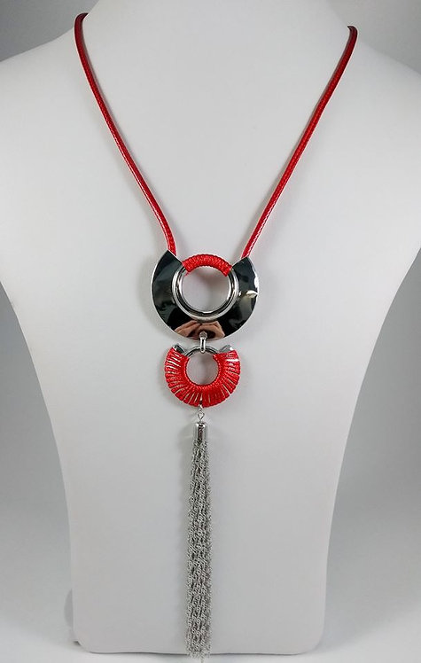 Collier long Spoutnik rouge