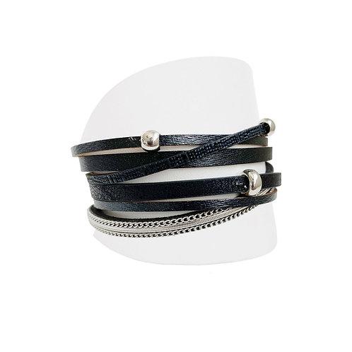 Bracelet Caracol, Cuirette avec métal, Noir, 3144-BLK