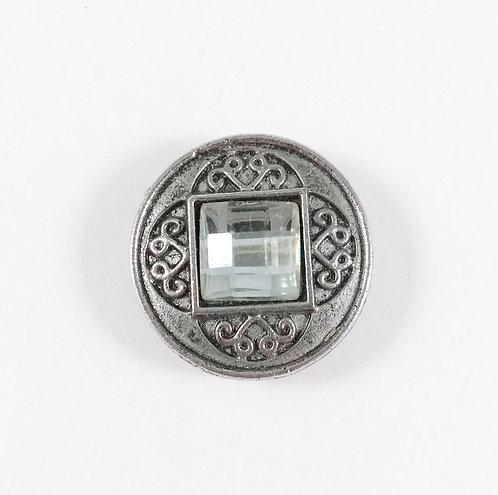Bouton pression (snap) Nomaad Interchangeable, Cristal carré, motif métallique